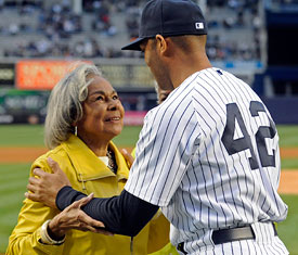 Mrs. Rachel Robinson with the last major league player ever to wear #42, Mariano Rivera {Source: Google Images}